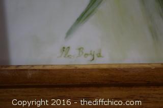 Signed Hand Painted Framed Porcelain