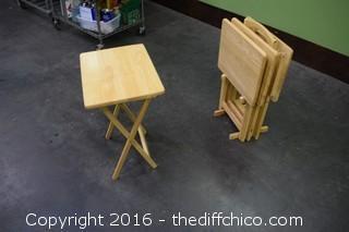 Set of 4 Folding TV Trays w/Holder