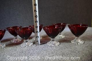 Set of 8 Ruby Red Candlewick Glasses