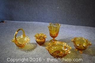 Lot of 5 Pieces of Amber Glass