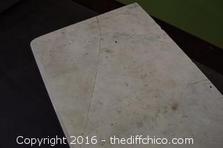 Wrought Iron Vintage Marble Top Table-Cracked Marble