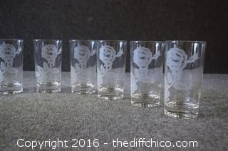 8 Etched Rose Glasses