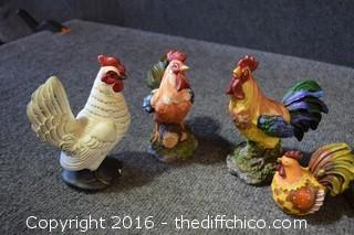 10 Decorative Roosters & Hens