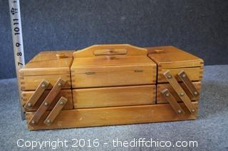 Fold-Out Wooden Sewing Chest