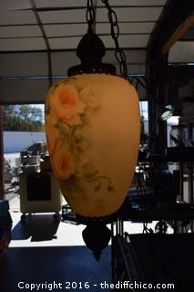 Working Signed Hand-Painted Hanging Lamp - Has Crack - See Pictures