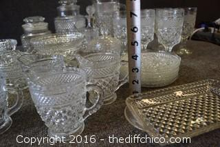 Vintage Glass Lot - All Same Pattern - 43 Pieces