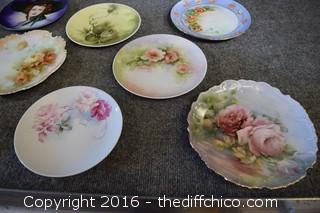 9 Hand-Painted Plates