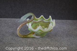 Vintage Hand Blown Swan Bowl