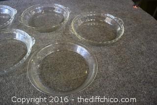 6 Glass Pie Plates-5 Pyrex & 1 Fire King