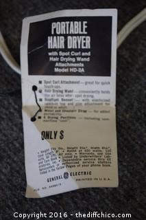 Vintage Working GE Portable Hair Dryer