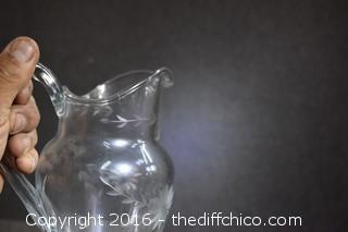 Etched Princess House Pitcher