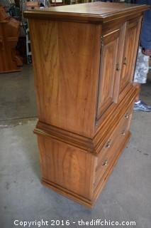 Pecan Tierra Chest w/2 Drawers by Kent Coffey-drawer track missing