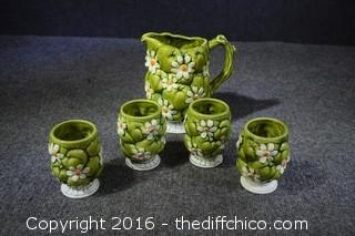 Vintage Pitcher & 4 Glasses