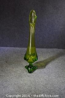 Vintage Green Glass Vase