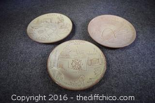 3 Frankoma State Plates