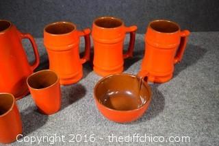 9 Pieces of Orange Frankoma Pottery