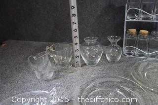 Clear Glass Lot - Spice Rack, Plates, Bowls & More