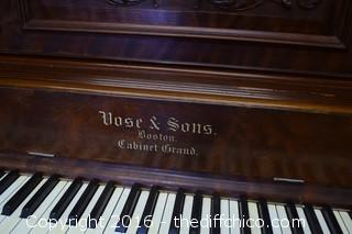 Vintage Mahogany Vose & Sons Upright Boston Cabinet Grand Piano