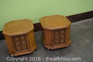 Pair of Rolling End Tables