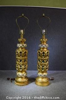 Pair of Working Vintage 35in tall Lamps