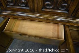 Drexel Hutch w/Glass Shelves, Drawers & Lights