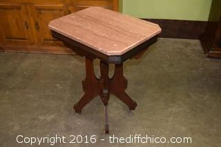 Vintage Walnut Marble Top Table