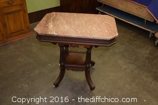 Victorian Walnut Marble Top Table
