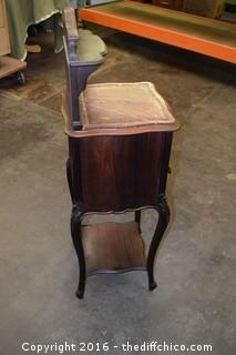 Vintage Walnut Marble Top Night Stand w/Chamber, Beveled Mirror Top