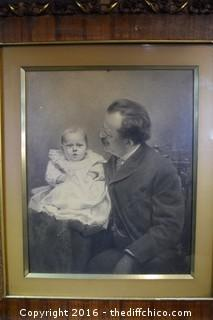Vintage Framed Signed Pencil Portrait