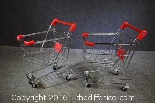 2 Mini Chrome Shopping Carts
