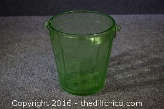Vintage Green Depression Glass Ice Bucket