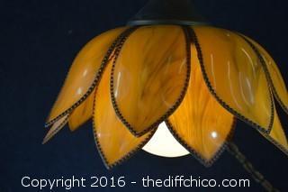 Working Vintage 1950's Plastic Orange Lotus / Tulip Swag Lamp