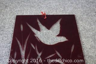 Etched / Cut Vintage Red Glass