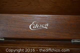 Edison Disc Photograph in a Vintage QS Oak Cabinet