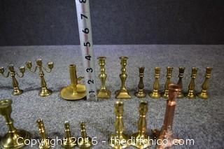 Brass Candlestick Lot