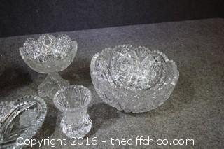 5 Pieces of Crystal & Glass-some minor chips