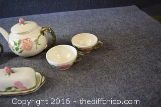 Mixed Lot of Franciscan Desert Rose - Tea Pot, Butter, Cream, Sugar, 2 Cups & Trivet