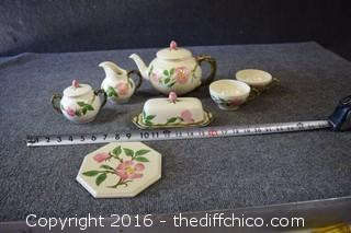 Mixed Lot of Franciscan Desert Rose - Tea Pot, Butter, Cream, Sugar, 2 Cups & Trivet