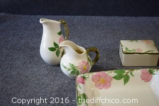 Mixed Lot of 9 Pieces of Franciscan Desert Rose - 2 Pitchers, Box, Tumbler, Square Dish & 3 S&P