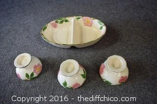 Franciscan Desert Rose - Divided Dish & 3 Desert Cups