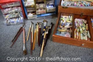Mixed Lot of Artist Glazes & Brushes