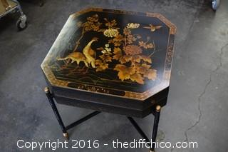 Rare Vintage Painted Black Oriental End Table  - Table Top Opens for Storage - see pictures
