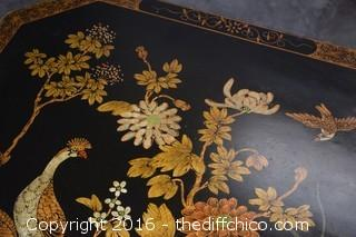 Rare Vintage Painted Black Oriental End Table - Top Opens for Storage - See pictures