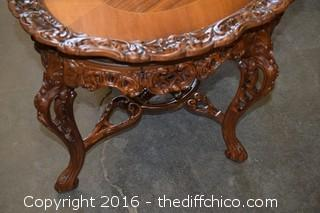 Vintage Carved Inlaid Tea Table w/Removable Glass Tray