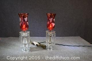 Pair of Vintage Cranberry Glass Chandelier Lamps