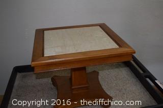Walnut Marble Top Table