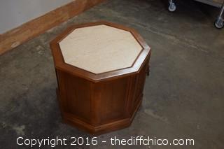 Walnut Marble Top Hexagon Table