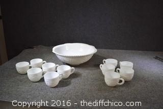 Milk Glass Punch Bowl & 11 Cups