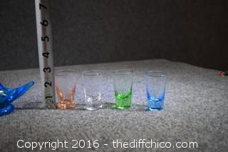 Lot of Blue Birds & Colored Glasses