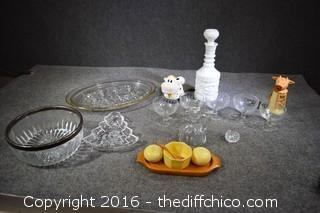 Mixed Lot-4 Glasses, Platter, Salt Dish & Spoon & More